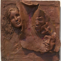 _I Am So Many #ll_, clay, tryptich, (17x17x5 each)500x500